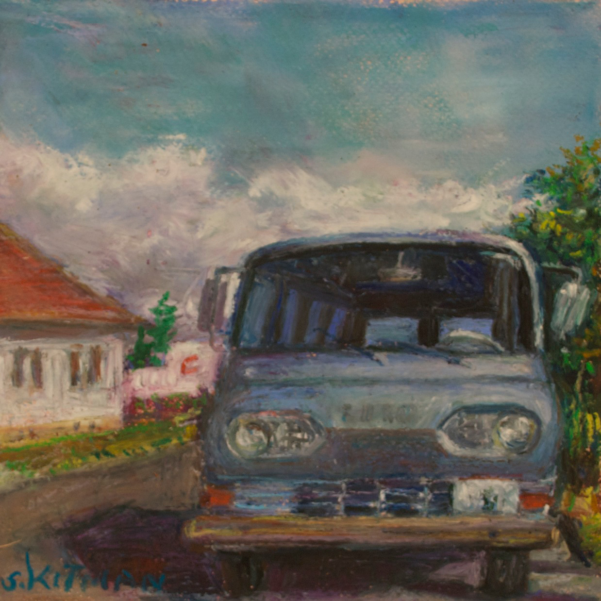 Blue Sky Ford Falcon, oil pastel on paper, mounted, 8 x 8 x .5 in, $225.00